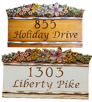 Custom Address Home Sign with carved flowers accent item 972B