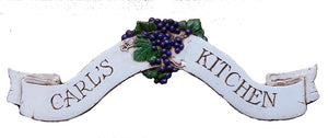 Custom Kitchen Sign With Grape Accents