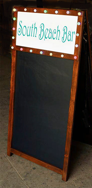 Custom Restaurant Chalkboard with LED String Lights