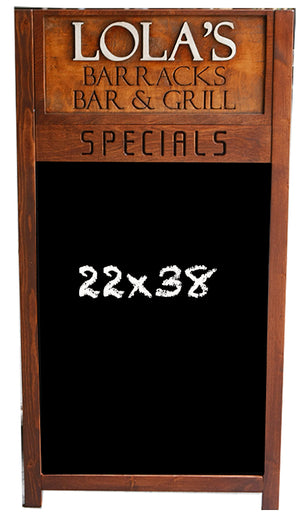 Customized Restaurant Chalkboard with Carved Wood Header