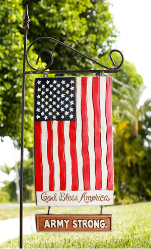 Flag yard sign with Army Strong