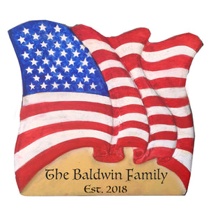 Waving Flag Patriotic Large Wall Art Personalized with your name or text