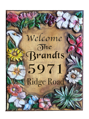 Flower Art Address and Name sign
