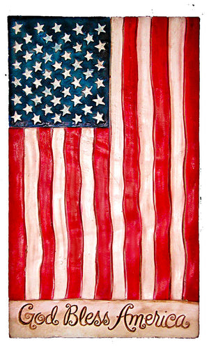 God Bless America Flag Decor Sign #127
