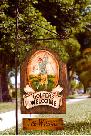 Golfers Personalized Welcome Yard Sign