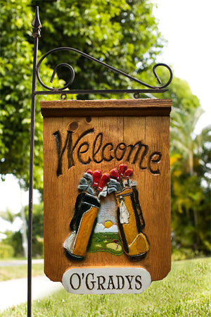 Golfer Welcome Personalized Yard Sign with Iron Yard Stake