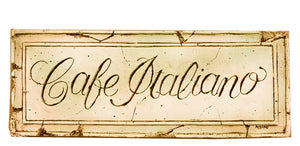 Handcrafted Cafe Italiano kitchen wall plaque 510C