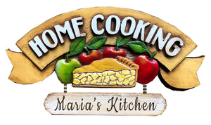 Home Cooking Personalized Kitchen Sign