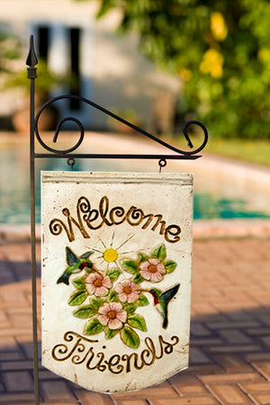 Hummingbird Welcome Sign and Yard Stake