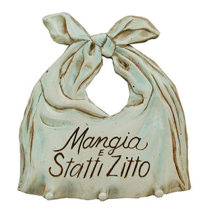 Italian Kitchen Decor Mangia e Statti Zitto Sign and Tool Holder #542D