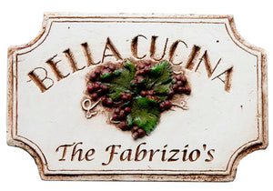 Italian Kitchen Sign Bella Cucina  personalized with your name item 696GR