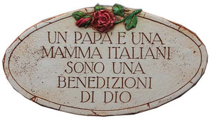 Italian Mama and Papa Oval wall plaque  item 655B