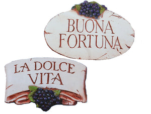 Italian Wall plaques La Dolce Vita and Buona Fortuna set