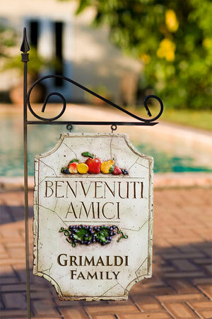 Italian Welcome Friends Yard Sign item 543yard