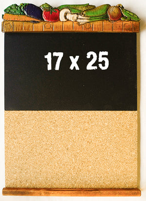 Kitchen wall organizer with chalkboard and cork board