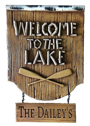 Lake Welcome Sign with Personalized hanging sign, item 409P
