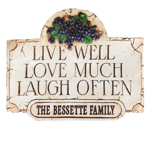 Personalized Live Love Laugh Welcome sign
