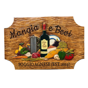 Mangia and Bevi Italian Kitchen Wall Plaque Personalized