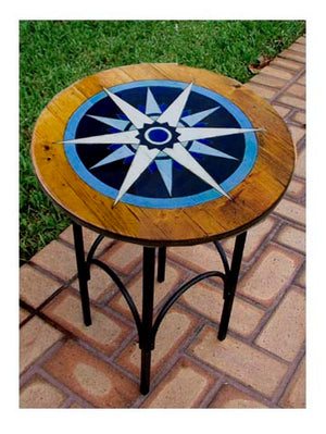 Nautical Decor Compass Rose Accent Table