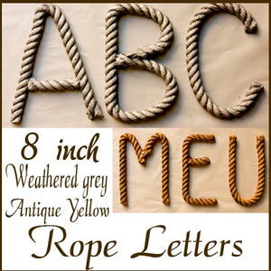Nautical Rope Letters, 8 inch rope letter
