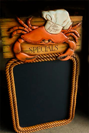 Personalized Nautical Restaurant Kitchen Crab Menu Board