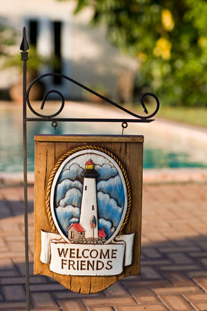 Nautical Welcome Friends Lighthouse Sign with yard stake