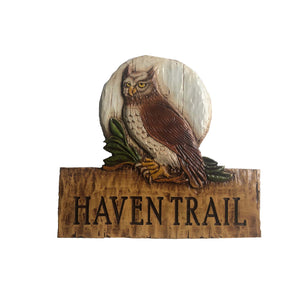 Owl Carved Custom Name or Address Sign