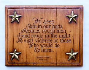 Patriotic Wall Decor, We Sleep Safe In Our Beds wall plaque by Orwell