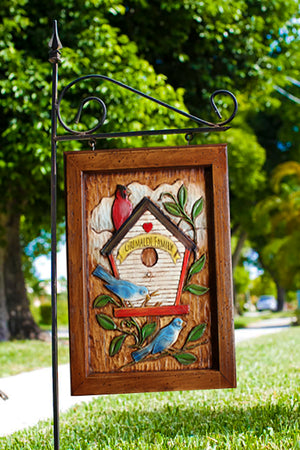 Personalized Bird House Yard Sign and Iron Yard Stake