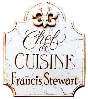 Personalized Chef de Cuisine French Kitchen decor plaque 607B