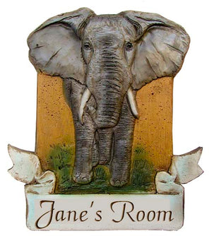 Kids Room Personalized Elephant Wall Decor Plaque