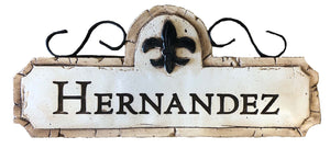 Personalized Fleur De Lis Sign with Iron Accents
