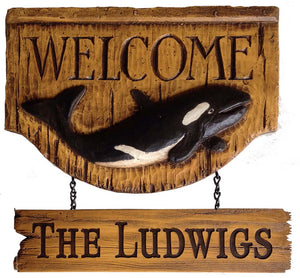 Personalized Orca Whale Welcome wall plaque