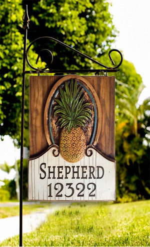Pineapple Hanging Sign and Yard Stake Personalized with your name or address