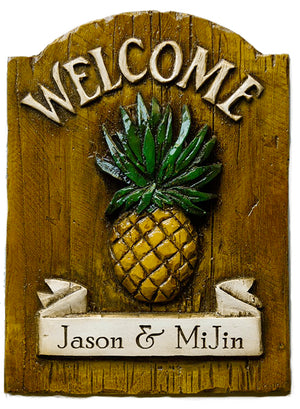 Pineapple Welcome Sign Personalized with your name  item 503G