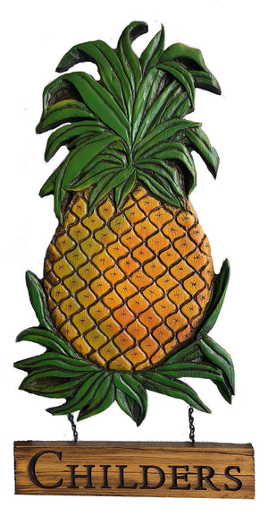 Pineapple wall plaque, personalize with your name or address