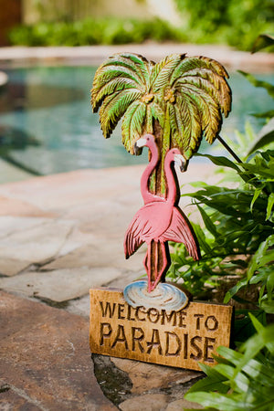 Pink flamingo Sign Yard Decor