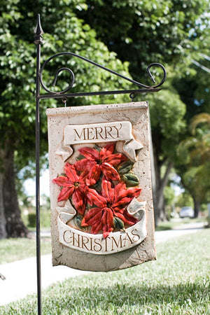 Poinsettia Merry Christmas  hanging yard sign and stake