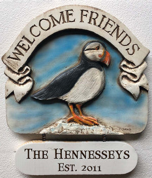 Puffin Welcome Friends Personalized Sign