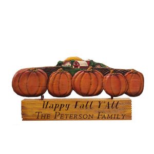 Pumpkin Autumn Wall Decor with hanging personalized sign