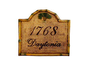 Personalized Rattan House Number plaque   item 725
