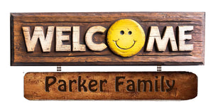 Smiley Face Personalized Welcome Sign