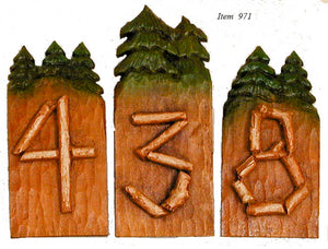 Tree House Rustic House Numbers  item 971