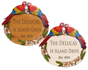 Tropical Parrot Address Sign Personalized