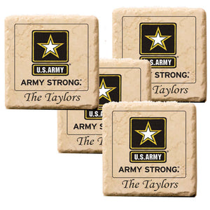 Personalized U.S. Army Strong Marble  Coasters