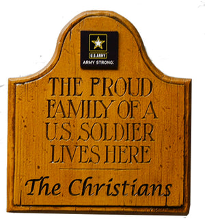 U.S. Army wall plaque, personalized with your family name
