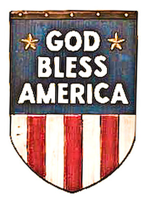 U.S. Flag plaque with God Bless America, made in USA