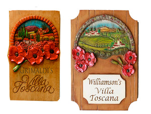 Villa Toscana Tuscan Poppies Personalized Sign in two sizes