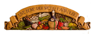 Italian Wall Plaque Vive Bene Door Topper  item 535 G