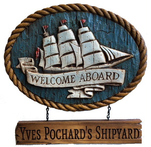 Welcome Aboard Clipper Ship Personalized Sign